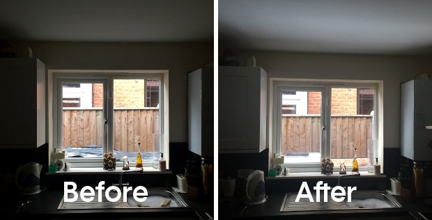 before after dark kitchen light reflector espaciel