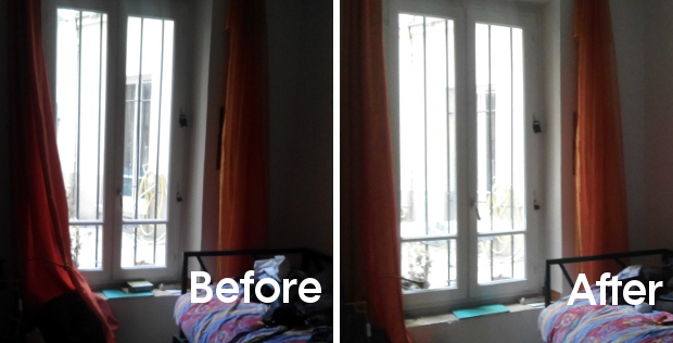 before after dark apartment paris light reflector Espaciel