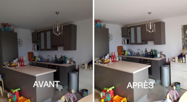 avant après avec le Réflecteur Terrasse il permet d'éclaircir la pièce et amplifier la luminosité dans sa cuisine