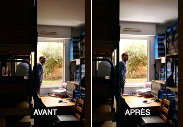 effet avant après avec le Réflecteur Fenêtre Espaciel un bel apport en lumière naturelle dans son bureau en rez-de-jardin