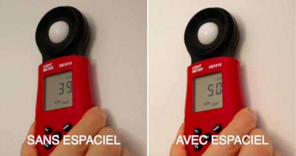 le luxmètre permet de mesurer l'intensité de la lumière, belle augmentation de lux avec le réflecteur fenêtre