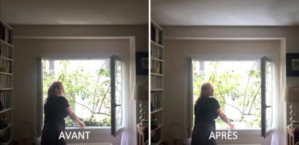 avant et après avec l'effet du réflecteur de lumière espaciel chez magali dans son maison de ville résultat impressionnant bel apport en lumière naturelle