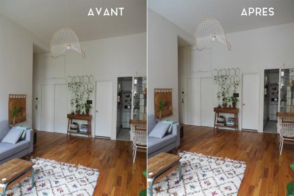 avant après de son appartement à New York avec le réflecteur espaciel réel apport en lumière naturelle dans la pièce