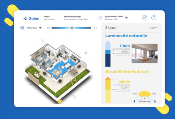 l'application mobile solen permet d'anticiper l'intensité de lumière naturelle dans votre intérieur, la luminosité qui va être disponible dans votre logement