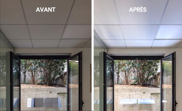 changement, lumière naturelle pour le bien-être au travail pour les salariés, il retrouve de la lumière naturelle les bureaux sombres sont devenus plus lumineux avec espaciel