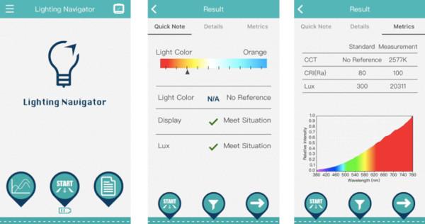 l'application mobile lighting navigator indique la couleur de la lumière, il analyse les couleurs qui constituent la lumière environnante, comme le coloris de l'arc-en-ciel