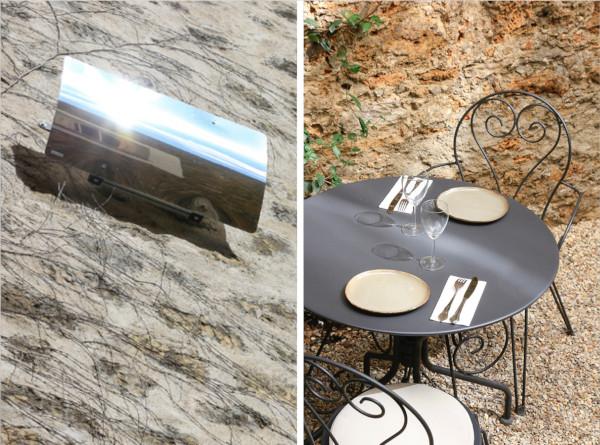 effet en lumière solaire sur les tables du restaurant les réflecteurs patio solaire distribue les rayons du soleil sur toute la longueur du jardin